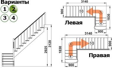 Лестница  К-002м/2  П  сосна (5 уп)
