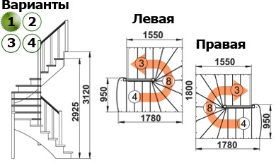 Лестница  К-003м/1  П  сосна (5 уп)