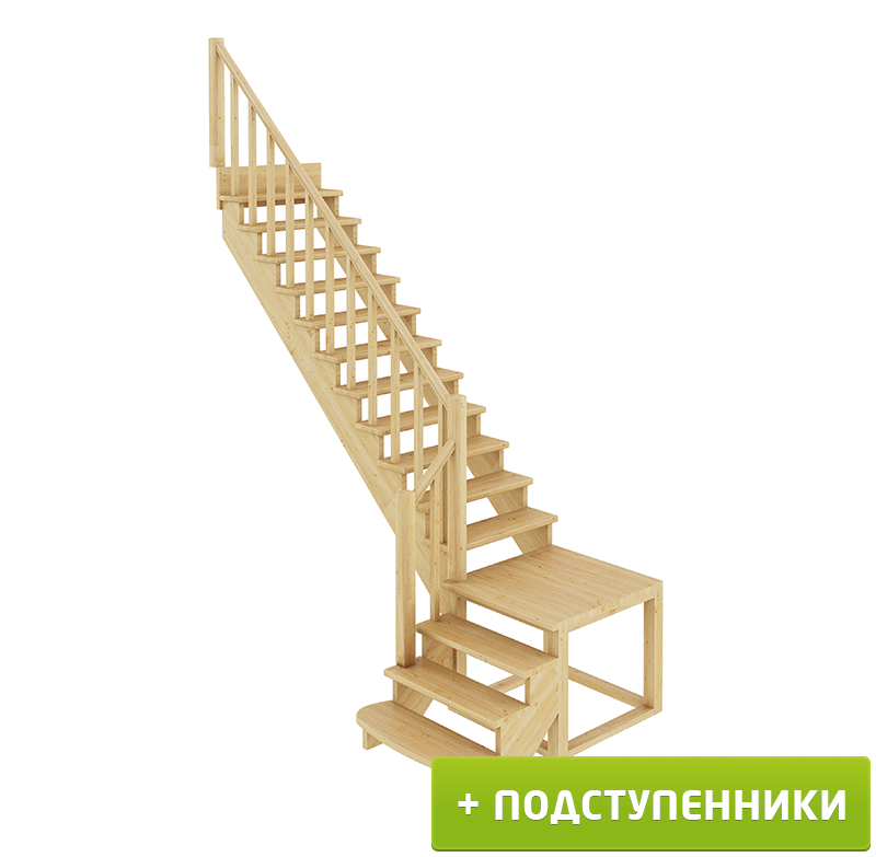 Лестница  К-002м/1 Л c подступенками сосна (6 уп)